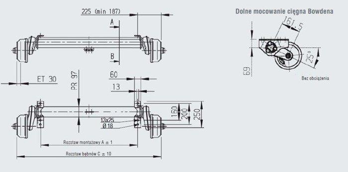 Aksel med bremser AL-KO til bådtrailer 1260 mm 1350 kg 5x112 mm