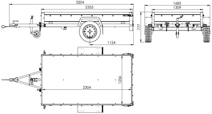 Anhænger 230x125 med støttehjul og høj presenning samt stativ H800 Garden Trailer 230 KIPP totalvægt 750 kg